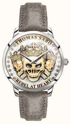 Thomas Sabo | buntownik męski duch czaszki 3d | złota tarcza | skórzany pasek | WA0356-273-207-42