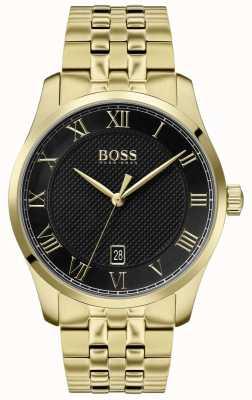 Boss | mistrz mężczyzn | złota bransoletka pvd | czarna tarcza | 1513739