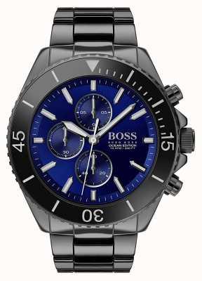 Boss | męska edycja oceanu | czarna stal nierdzewna | niebieska tarcza | 1513743