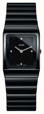 Rado Kwadratowy czarny ceramiczny zegarek bransoletka z diamentami Ceramica R21702702