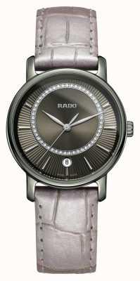 Rado Szary diamentowy zegarek Diamaster z szarym skórzanym paskiem R14064715