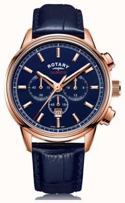 Rotary | męski chronograf Cambridge | niebieska tarcza | niebieska skóra | GS05399/05