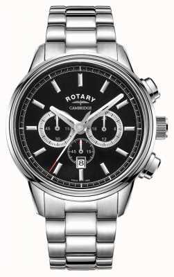 Rotary | męski chronograf Cambridge | czarna tarcza | Stal nierdzewna GB05395/04
