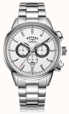 Rotary | męski chronograf cambridge | biała tarcza | Stal nierdzewna GB05395/02