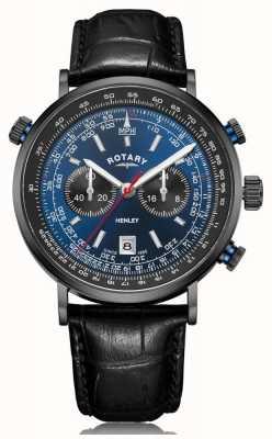 Rotary   męski chronograf Henley   niebieska tarcza   czarny skórzany pasek GS05238/05