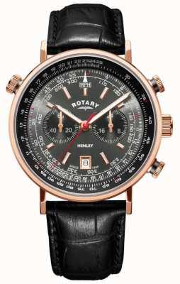 Rotary | męski chronograf Henley | szara tarcza | czarna skóra | GS05237/20