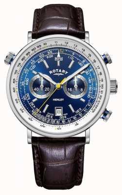 Rotary | męski chronograf Henley | niebieska tarcza | brązowy skórzany pasek GS05235/05