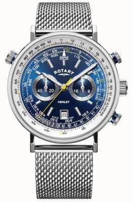 Rotary | męski chronograf Henley | bransoletka ze stali | niebieska tarcza GB05235/05