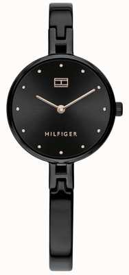 Tommy Hilfiger | zestaw damski | czarna bransoleta ze stali nierdzewnej | czarna tarcza 1782136