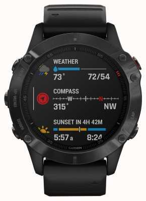 Garmin Szkło goryl Fenix 6 pro | multisportowy smartwatch | czarny gumowy pasek 010-02158-02