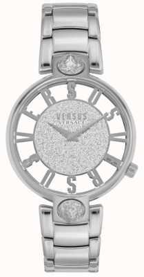 Versus Versace | kobiety Kirstenhof | srebrna bransoleta ze stali | brokatowa tarcza VSP491319