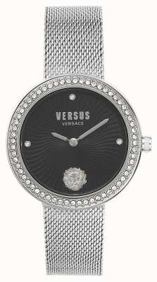 Versus Versace | léa dla kobiet | srebrna bransoletka z siatki | czarna tarcza | VSPEN0719