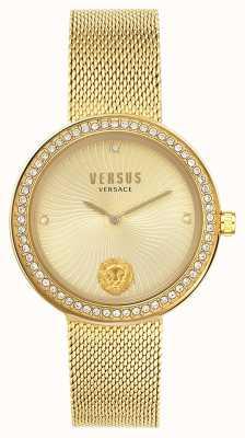 Versus Versace | léa dla kobiet | złota bransoletka z siatki | złota tarcza | VSPEN0819