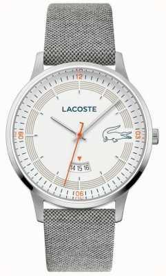 Lacoste | madryt męski | szary skórzany pasek | biała tarcza | 2011031