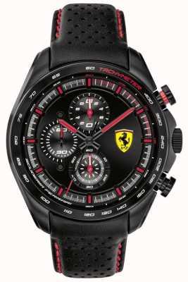 Scuderia Ferrari | speed-racer dla mężczyzn | czarny skórzany pasek | czarna tarcza | 0830647