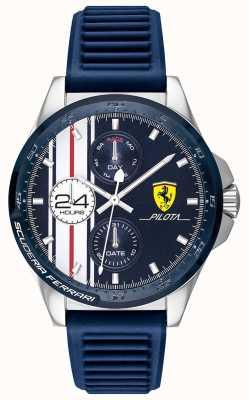 Scuderia Ferrari | męski pilot | niebieski gumowy pasek | niebieska tarcza chronografu | 0830660