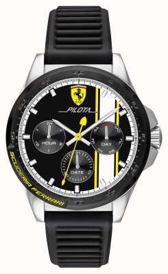 Scuderia Ferrari | męski pilot | czarny gumowy pasek | czarna tarcza chronografu 0830659