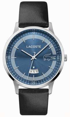 Lacoste | męski madryt | czarny skórzany pasek | niebieska tarcza | 2011034