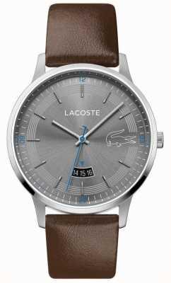 Lacoste | męski madryt | brązowy skórzany pasek | szara tarcza | 2011033