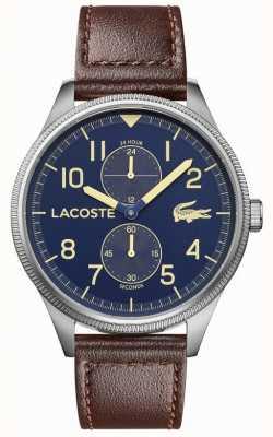 Lacoste | męskie kontynentalne | brązowy skórzany pasek | niebieska tarcza | 2011040