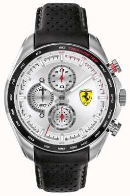 Scuderia Ferrari | speed-racer dla mężczyzn | czarny skórzany pasek | srebrna tarcza | 0830651