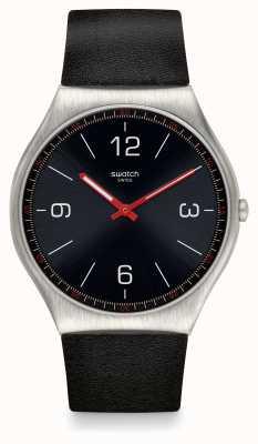 Swatch | ironia skóry 42 | czarny zegarek | SS07S100
