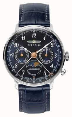 Zeppelin LZ129 Hindenburg Kwarcowy zegarek z datownikiem i datą księżycową w niebieskiej tarczy 7037-3