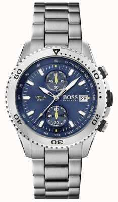 Boss | Vela | chronograf | bransoletka ze stali | niebieska tarcza | 1513775