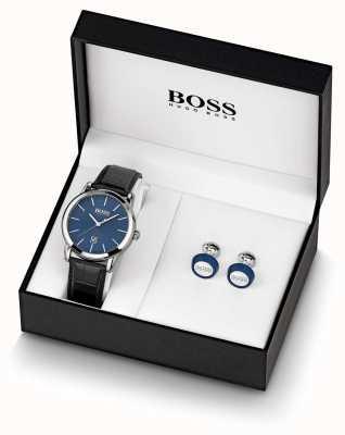 BOSS | męskie | niebieski zestaw zegarków i spinki do mankietów | 1570092