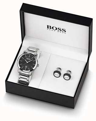 Boss | męskie | czarny zestaw zegarków i spinki do mankietów | 1570091