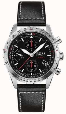BOSS | aero | czarny chronograf | czarny skórzany pasek | 1513770