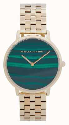Rebecca Minkoff Major kobiet | pozłacana stalowa bransoletka | tarcza malachitowa 2200373