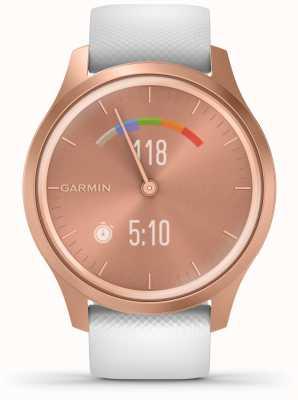 Garmin Styl Vivomove | aluminiowa obudowa w kolorze różowego złota | biały pasek 010-02240-00