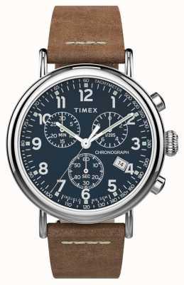 Timex | standardowy chronograf 41mm | brązowy skórzany pasek | niebieska tarcza | TW2T68900
