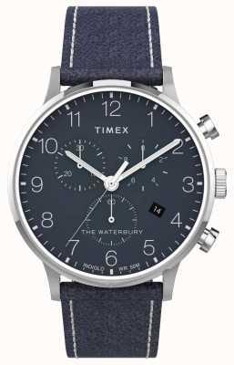 Timex | Waterbury Classic Chrono 40mm | niebieska skóra | niebieska tarcza | TW2T71300
