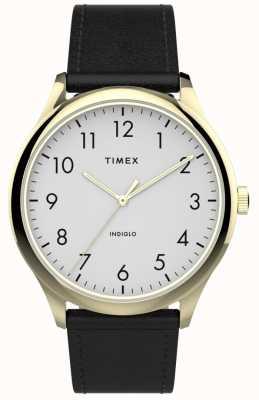 Timex | łatwy czytnik 40mm | czarny skórzany pasek | biała tarcza | TW2T71700