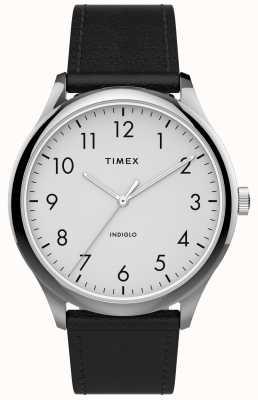 Timex | łatwy czytnik 40mm | czarny skórzany pasek | biała tarcza | TW2T71800