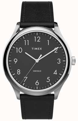 Timex | łatwy czytnik 40mm | czarny skórzany pasek | czarna tarcza | TW2T71900