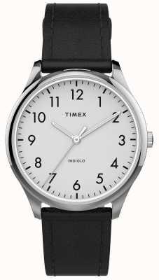 Timex | łatwy czytnik 32mm | czarny skórzany pasek | biała tarcza | TW2T72100