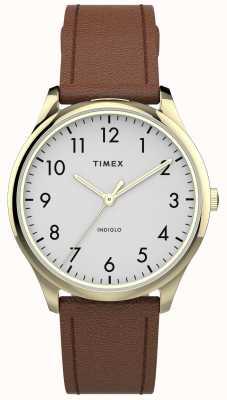 Timex | łatwy czytnik 32mm | brązowy skórzany pasek | biała tarcza | TW2T72300