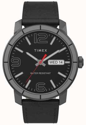 Timex | mod męski 44mm | czarny skórzany pasek | czarna tarcza | TW2T72600