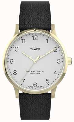 Timex | Waterbury dla kobiet | czarny skórzany pasek | biała tarcza | TW2T75200