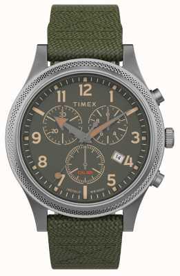 Timex   allied lt chrono 40mm   pasek z zielonej tkaniny   zielona tarcza   TW2T75800