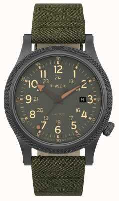 Timex | sprzymierzony lt 40mm | szara obudowa | pasek z zielonej tkaniny | TW2T76000