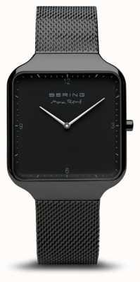 Bering | max rené | czarna stalowa bransoletka z siatki | czarna tarcza | 15836-123
