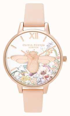 Olivia Burton | damskie | zaczarowany ogród | 3d pszczoła | pasek ze skóry brzoskwini | OB16EG151