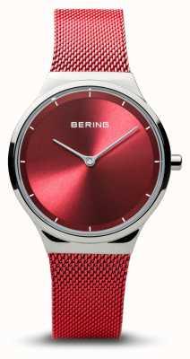 Bering | klasyczny | kobiety polerowane srebro | czerwona bransoletka z siatki | 12131-303