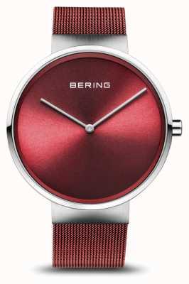 Bering | klasyczny | polerowane / szczotkowane srebro | czerwona bransoletka z siatki | 14539-303