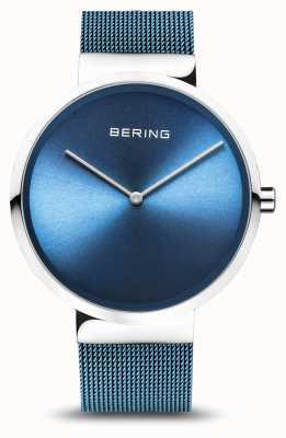 Bering | klasyczny | polerowane / szczotkowane srebro | niebieska bransoletka z siatki | 14539-308