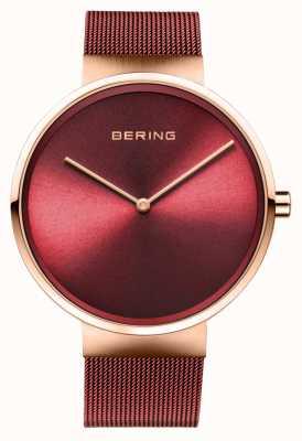 Bering | klasyczny | polerowane / szczotkowane różowe złoto | czerwona bransoletka z siatki | 14539-363